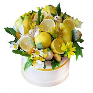Valgoma puokštė Citrusinė gaiva - Gėlių pristatymas į namus Šiauliuose
