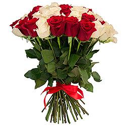 Raudonos ir baltos rožės - Gėlės į namus Vilniuje
