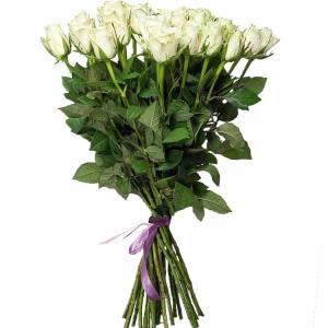 Baltos 5 žvaigždučių rožės PREMIUM 80-90cm - Gėlės į namus Vilniuje