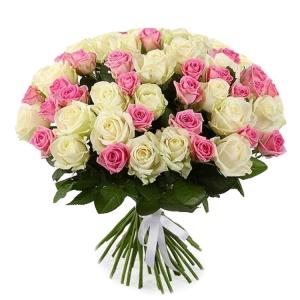 Baltos ir rožinės rožės - Gėlių pristatymas į namus Vilniuje