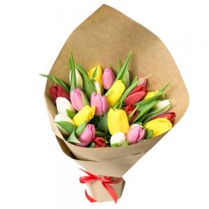 Įvairiaspalvės tulpės - Gėlės į namus Vilniuje
