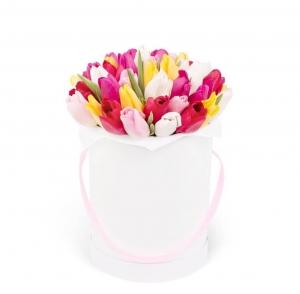 Karštas bučinys tulpės dėžutėje - Gėlės į namus Vilniuje