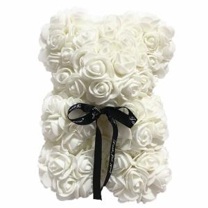Meškiukas iš rožių Rose Bear, baltas - Gėlės į namus Vilniuje