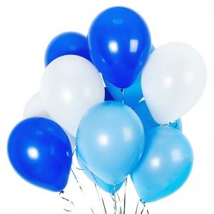 Mėlynų helio balionu puokštė, 11vnt - Gėlės į namus Vilniuje