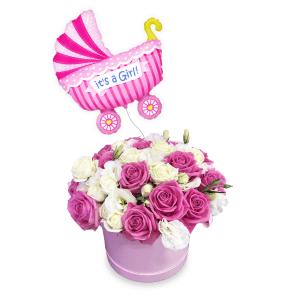 Naujagimio rinkinys 1 (Mergaitė) - Gėlių pristatymas į namus Klaipėdoje