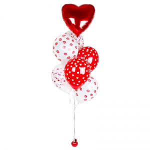 Raudonai balta helio balionų puokštė, 7 vnt - Gėlių pristatymas į namus Vilniuje