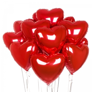 Raudonos helio širdys, 15vnt - Gėlės į namus Vilniuje