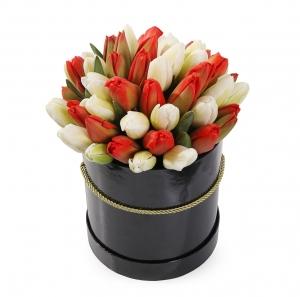 Raudonos ir baltos tulpės dėžutėje - Gėlės į namus Vilniuje