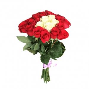 Raudonos rožės su baltom viduryje