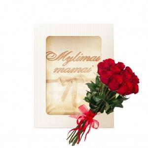Rinkinukas mamai (rankšluostis ir rožės)
