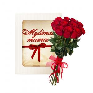 Rinkinukas mamai (rankšluostis ir rožės) - Gėlių fėja - Gėlių pristatymas į namus