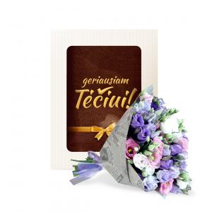 Rinkinukas su rankšluočiu Geriausiam Tėčiui (eustomos mix) - Gėlių fėja - Gėlių pristatymas į namus
