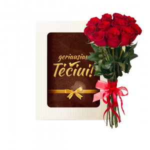 Rinkinukas tėčiui (rankšluostis ir rožės) - Gėlės į namus Kretingoje